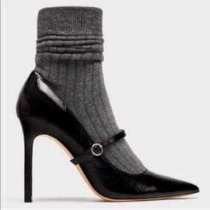 Zara Black Patent Leather Spike Heels W/sock